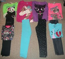 LOT OF GIRLS KNITWORKS TOP SONOMA PANTS CAT GUITAR HORSE PANDA CLOTHES SZ 6X 7 8