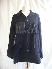 "Ladies Coat - 9 Face, size L, 40"" bust, black denim/rubber tassels, used - 7653"