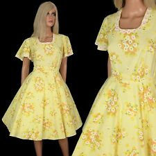 Vintage 50s FIT-FLARE DRESS Lucy Yellow Floral 360 Circle Square Dance Swing XL