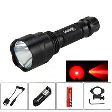 C8 Red LED Flashlight Torch Hunting Light+Gun mount+Remote Pressure Switch+CH