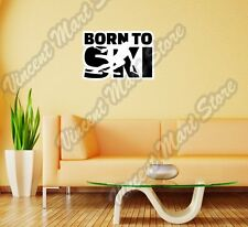 "Born To Ski Giant Slalom Skiing Speed Wall Sticker Room Interior Decor 25""X18"""