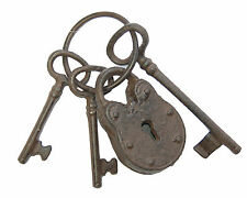 Set of 3 Large Antique Style Replica / Reproduction Cast Iron Keys with Padlock