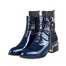 Lady Punk Vogue PLUS SIZE PATENT LEATHER POINTY TOE ANKLE COMBAT BOOTS SHOES HOT