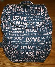 NWT Hollister by Abercrombie Classic Navy with Pink Logo Backpack book bag tote