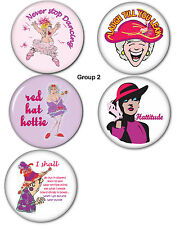 "Group #2 BUTTON PIN BACKS 3"" FAVORS FUNNY GIFTS FOR RED HAT LADIES OF SOCIETY"