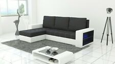 corner sofa bed sleeping option led lights  white leather grey fabric storage