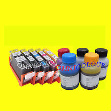 5 compatible refillable cartridge for Canon PGI-525 CLI-526 + 500ml refill ink