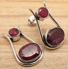 Beautiful RUBY 2 Gemstone RED Stud Earrings ! Silver Plated Over Solid Copper