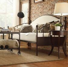 Bronze and Iron Daybed Beige Upholstered Curved Top Sofa Lounge Twin Day Bed