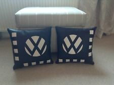 A PAIR OF VW LOGO CUSHIONS Black And White Faux Leather