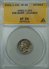 1942/1 Mercury Silver Dime 10c, Anacs Vf-35 Details Rim Bump, Cleaned, Over Date