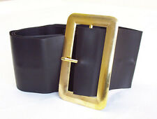 "SANTA FATHER CHRISTMAS PIRATE LARGE GOLD BUCKLE BLACK BELT FITS UPTO 50"" WAIST"