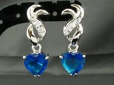 18k White Gold Plated Blue Faux Sapphire Earrings Silver-Tone Mum Gift Prom
