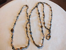 "Beautiful Necklace Brass Tone Amber Brown Black  Beads 52"" Long NICE"