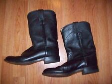 WOMEN'S JUSTIN BOOTS SZ 6.5D BLACK 3133 LEATHER RODEO BOOTS NICE!