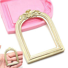 Vintage Mirror Frame Silicone Cake Molds Cupcake Toppers Chocolate Moulds Fimo