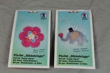 2 Glücksbringer - Elefant + Blume - Bastelfilz Bastelset Set Lucky charm  /S200