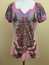 Butterfly Dropout Purple Graphic Design Henley Short Sleeve Top Large #2564