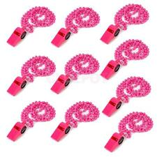 10pcs Hens Night Party Novelty Bead Whistle Necklace Funny Toy Plastic Hot Pink
