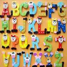 Cute 26 Pcs Alphabet Letters Baby Wooden Fridge Magnet Early Learning Toys