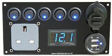 Switch Panel /Hook Up/USB 12V/240V Control Charging Unit Campervan Motorhome VW