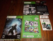 HALO 4 (Xbox 360,2012)  + TOMB RAIDER (Full Game DLC Card) TWO FULL LENGTH GAMES