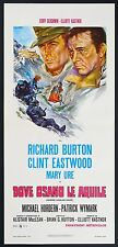 LOCANDINA, DOVE OSANO LE AQUILE Where Eagles Dare EASTWOOD, WAR POSTER 2a ED.