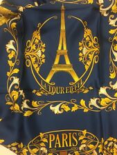 """PARIS Themed 100% Silk Scarf 36"""" x 36"""" Anne McAlpin Cities Collection Navy Gold"""