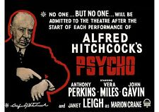 Psycho - Anthony Perkins - Alfred Hitchcock - A4 Laminated Mini Poster