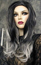 2-TONE RAVEN BLACK & WHITE MIXED SILKY WIG WIGS