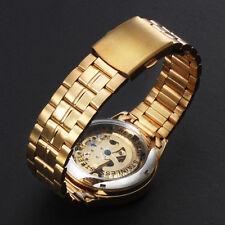 CA1 De lujo Automático Esqueleto Mecánico Grabado Oro Hombres Reloj Pulsera GB