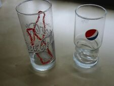 Orig. Coca Cola + Pepsi Gläser Vintage Sammler Werbe Reklame Softtrink alt RAR