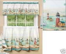3 Piece Nautical Lighthouses Kitchen Curtain Set; Free Expedited Shipping