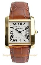 CARTIER Tank Francaise Automatic Large 18k Yellow Gold Watch W5000156 Box/Papers