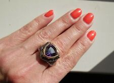 "NEW ""designer inspired"" Dark Purple CZ Ring w.Cable Shank & 2 tone Detail size 7"