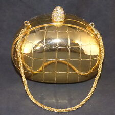 "VINTAGE SMALL GOLD TONE BRASS KORET ITALY EVENING BAG OVAL SHAPE  4 3/4"" X 4"""