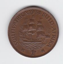 1934 South Africa One Penny Coin Sailing Ship Z-269