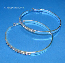 LARGE 6cm HOOP EARRINGS WITH DIAMANTE CRYSTAL DETAIL WEDDING PROM BRIDAL BLING
