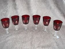 VINTAGE, RERTO FRENCH RUBY RED CUT TO CLEAR WINE GLASSES X 6