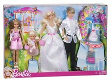 BARBIE FAIRYTALE WEDDING DOLLS W/ STACIE CHELSEA & KEN 4 DOLL SET X5966 2012 *NU