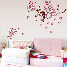 Cherry Blossom Monkey Removable Vinyl  Wall Sticker Decal Art Kids Home Decor