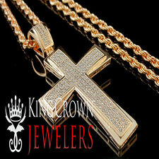 Mens Ladies Lab Diamond Rose Gold Finish Holy Jesus Cross Charm Pendant Chain