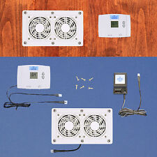 AV Cabinet Cooling fans w/digital thermostat & multi-speed control (White model)