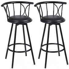 Set of 2 Black Barstools Modern Swivel Rotatable Chairs Steel Counter Height New