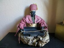 "Vintage 80s. Rare Blackamoor Figurine Carrying Wood Tray Paper Mache  13"" tall"