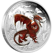 Tuvalu 2012 1$ Dragons of Legend Red Welsh Dragon 1Oz Silver .999 Coin