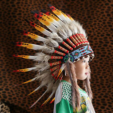 KIDS INDIAN HEADDRESS 65CM COLORFUL FEATHERS Chief American Costume WAR BONNET