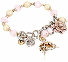 Betsey Johnson Pink-Tone Patina stretch ballerina charm bracelet NWT New
