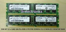 2GB (2 x 1GB) 184-PIN DDR PC2700 333MHz CL2.5 NON-ECC DIMM FOR DELL, HP, IB