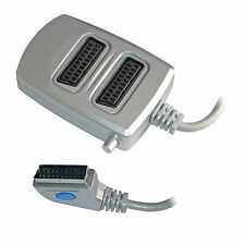 2 Two Way Scart Splitter Switch Box AV Adaptor 2 Devices into 1 TV - SWITCHED